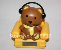 Free Shipping  Music sofa bear / cat, Music sofa solar doll, Auto accessories, solar baby, Solar toys, 156g  10pcs/lot