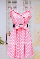 New temperament little woman sweet pink dots condole carries a dress belt