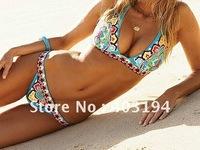 NWT Sexy Womens Floral Boho Prints Patterns Halter Bikini Swimsuit Beachwear S M L