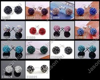 New 42X Shamballa Stud earrings 14Colors Mixed Top Popular Free Shipping Artilady