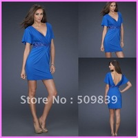 2012 Free shipping Hot sale Sheath Royal Blue Short Sleeve Deep V-Neck Sexy Prom Cocktail Party Dress with Embellishd Trim