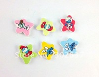 60PCS Mixed colours wooden star Beads #20771