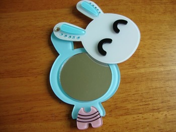 rabbit bunny rotatable mirror #12002, can be used on the back cover of iPhone, wholesale & retail, hidden, great gift for girls