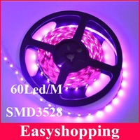 Free Shipping Waterproof SMD3528 Flexible LED Strip 60leds/m 5M 300LEDs purple or pink