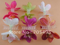FREE SHIPPING- 4'' silk wedding hair decoration orchid flower hair claw 6 colors mixed