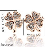 18KGP E001 18K Gold Plated Four Leaf Clover Earrings, Vogue Jewelry Nickel Free Rhinestone Crystal