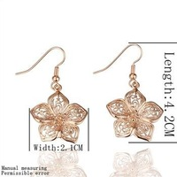 18KGP E058 18K Gold Plated Drop Flower Earrings, Vogue Jewelry Nickel Free Plating Gold Rhinestone Factory Price Free Shipping
