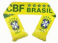 Yellow Brazil fans scarves,velvet  cheer scarves,145*16cm soccer scarves,neckcloth for cheer,fleece Brazil soccer scarf,100pcs