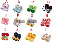 24pairs/lot cartoon design anti slip cotton socks for baby infant booties three-dimensional 3d socks