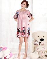 Short sleeve lovely princess of Japanese emulation silk nightgown