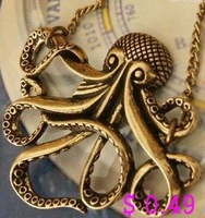 Min.order is $10 (mix order) Fashion Necklace Metal Necklace Metal Octopus Pendant Antique Necklace Free shipping Kp032