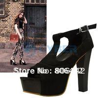 Women's Vogue Platform T-strap Sandals Summer  High Heels Shoes Wood Outsole HOT