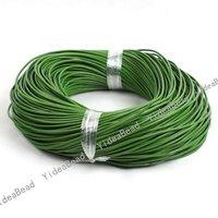 Wholesale - 30m Green True Cowhide  Leather String In BundlesFit Diy Bracelets And Necklace 130238