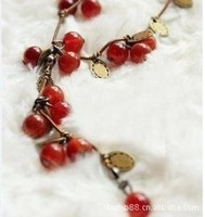 Trendy Cute Beads Cherry Necklace Z-C2032 Free Shipping