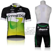 2012 New! GreenEDGE Short Sleeve Cycling Jersey + Bib Shorts