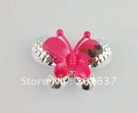 20Pcs Silver/red butterfly shoe flower #20932