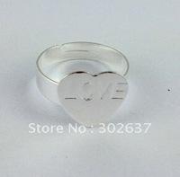 60PCS Adjustable Ring Base Blank Glue-on Heart Pad #20778