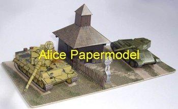 [Alice papermodel] 1:35 World War II T34 fight  tiger tank diorama armed vehicle War scenes army models