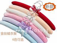 25pcs/Lot 38cm NEW ARRIVAL 6COLORS Pleuche Cloth Adult Closet Hangers Indoor Padded Hanger+Free Shiping