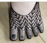 Free shipping Make cool five toe sock, 5pairs/lot women's Mesh five Toe socks black