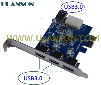 Free shipping High Quality PCI-E express card to 4port usb3.0 adapter speed up to 5GB VIA chippset With 4PIN power
