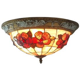 New Hot Selling Tiffany Style Flush Mount with 2 Lights - Antique Inspired