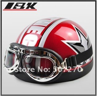 C.04 ABS Half Face Bol Vespa motor Red # Star Helmet , Motorbike Casco , Cycling Casque & Goggles + Visor Adults M L XL