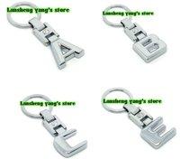 Free shipping 30pcs/lot High quality mix  A B C E G R S Car Key Chain Ring Metal Logo key have retail box factory supplies