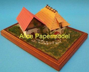 [Alice papermodel]European village house scene diorama building room models