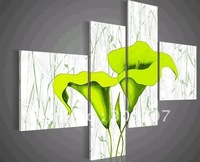 hand-painted oil wall art Pale green beautiful flowers decoration abstract Landscape oil painting on canvas 4pcs