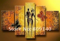 oil painting modern abstract Couple Lover Romance Portrait Butterfly high quality handmade home hotel wall art decor free ship