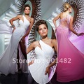 Free Shipping P018 2012 Sexy White/Pink Chiffon One Shoulder Prom Dress