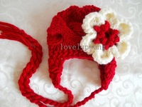 new arrive baby hat ,knitted baby girls hat with flower ear flat hat 20pcs/lot
