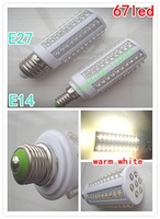 E27 67led corn bulb,  3W power white and warm white light, AC220V working, Free shipping!