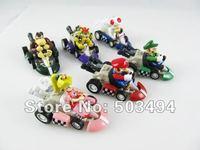 Retail 6pcs/lot Super Mario Bros Car Toy Full Set 6 pcs Super Mario Bros. Kart  PULL BACK Cars Figures super mario kart figure