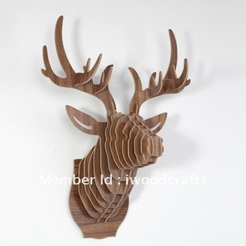 DHL Free Shipping, Wooden Moose Head Trophy Wall Hangings Decoration,Deer  Home Decor