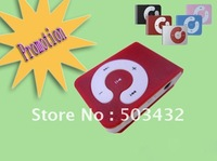DHL 100pcs mini clip MP3 mini card mp3+USB+Earphone with TF slot 5 colors