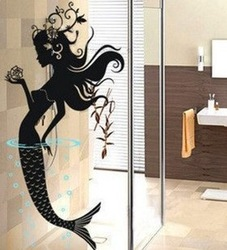 [funlife]-1pc drop ship 58x120cm Mermaid Bath Room Art Mural Wall Vinyl Decals(China (Mainland))