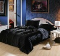 Imitated Silk 4Pcs King Size in a Bag Elegant Black Solid Pattern Duvet Cover Bedding Sets Home Textile