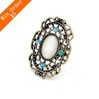 2014 New Fashion Hot Selling Korean Fashion Hollow Flower Vine Opening Ring(White) R433