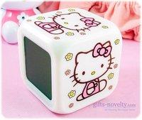 10 Pcs/Lot hello kitty pattern color change alarm clock kitty pattern Color Changing Digital LED Alarm Clock