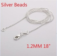 10pcs Sterling Silver 925 Necklace Chain Wholesale 925 Silver Jewelry  1.2 MM Beads ball chain Necklace SC05