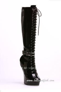 Free shipping black platform knee sky high heel boots with bondage