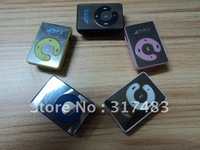 GOOD!!!5pcs/LOT Mini Clip Mp3 Player,+USB CABLE+earphone  Mirror Mp3, TOP 8GB Micro sd /TF card support+free shipping