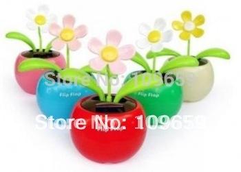 Free shipping Flip Flap Solar Powered apple flower toys,Cool Car Dancing Solar Toys CY-01-027