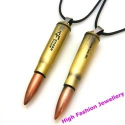 H0003 man&#39;s classic punk style necklace with titanium steel bullet pendant,2012 newly arrival fashion charm jewelry 12pcs/lot(China (Mainland))