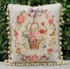 "Hand Woven  Aubusson Tapestry Pillow Cushion Cover - Shabby French Chic  Cottage BLUE RIBBON PINK ROSES 16""x20""Home Decorative"