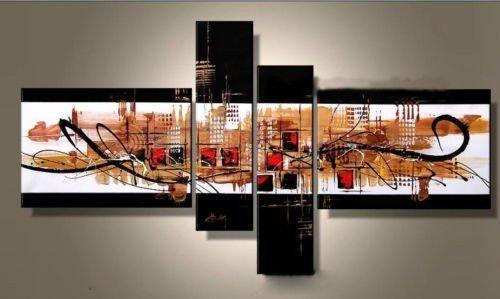 100% fait à la main noir brun moderne, ville, haute q. Décoration murale paysage abstrait peinture à l'huile sur toile encadrée 4pcs/set mixorde