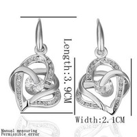E081 18K Platinum Plated 3-Hearts Cross Earrings, Fashion Health Earring Jewelry, Nickel Free, Austrian SW Element