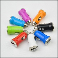 20pcs/Lot Mini Car Charger with USB Interface for iPhone 4S New iPad and iPod (Black)Free Shipping SI188